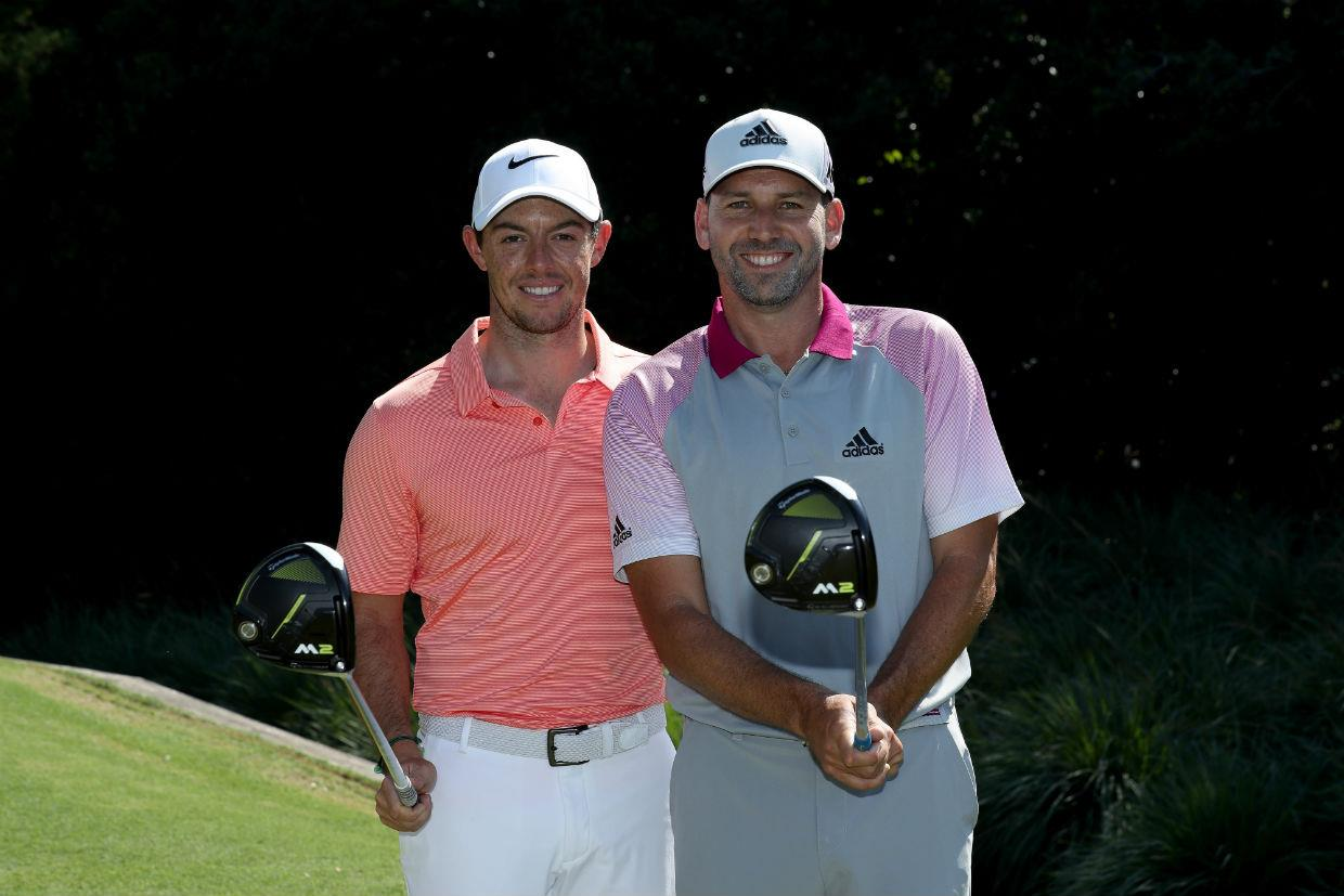Garcia and McIlroy pose with TaylorMade drivers