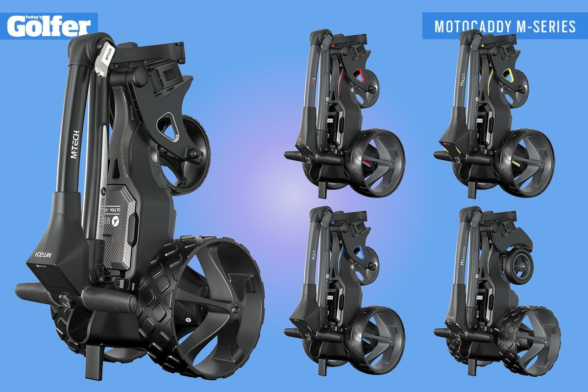 The Motocaddy M-Series trolleys when folded. Clockwise, from left: M-TECH, M1, M3 GPS, M7 Remote, M5 GPS.
