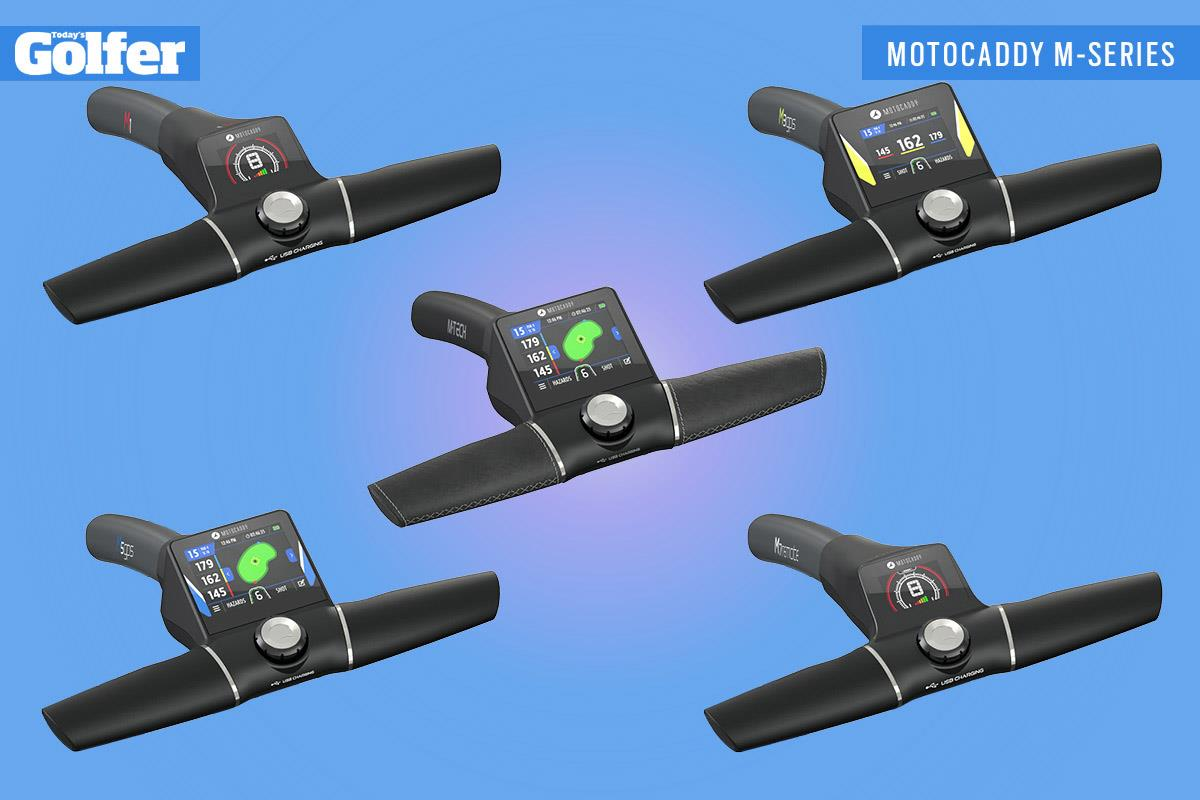 The handles of the new Motocaddy M-Series trolleys - M-TECH (centre), M1 (top left), M3 GPS (top right), M5 GPS (bottom left) and M7 Remote (bottom right).