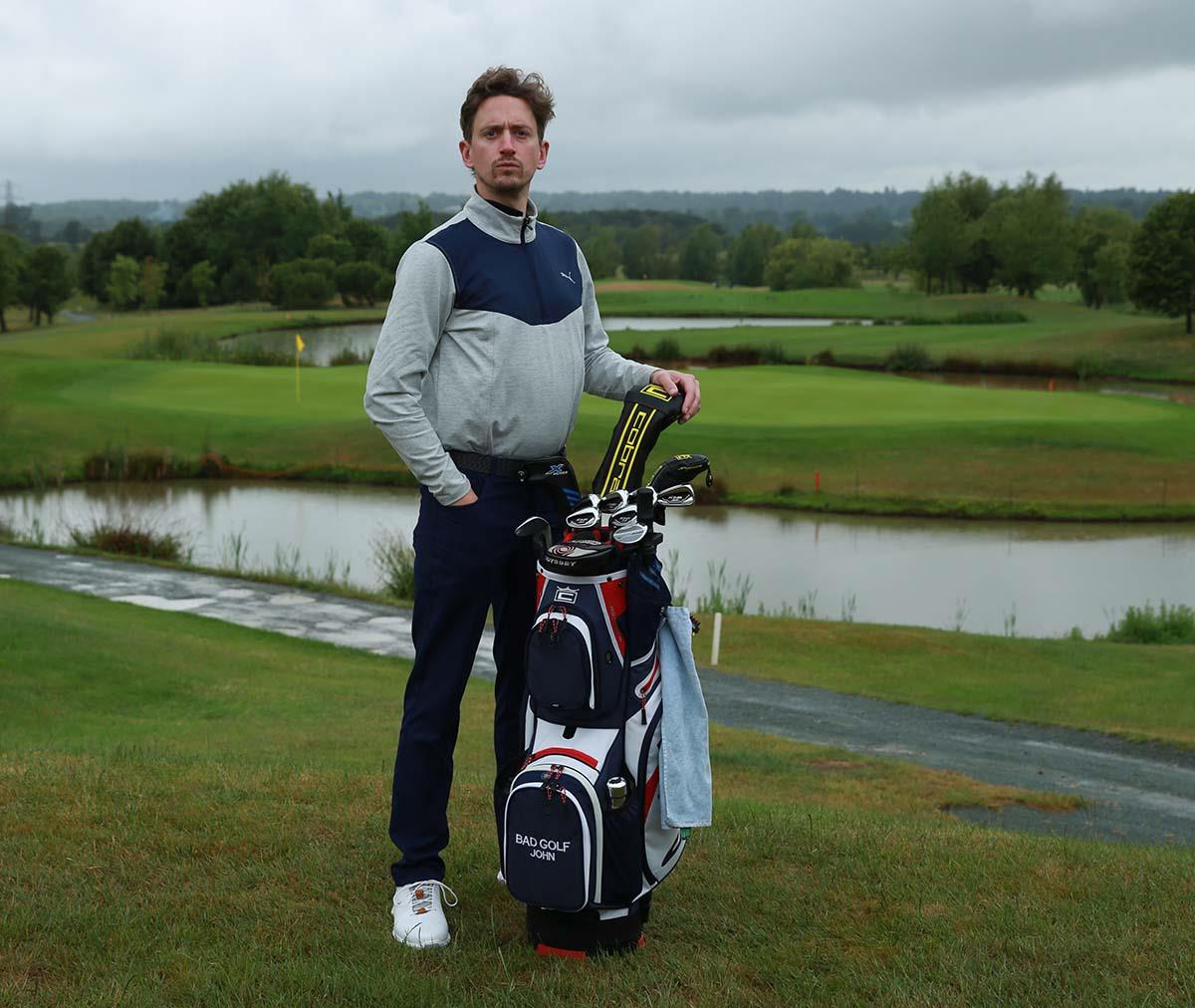 John Robins from Bad Golf with his Cobra golf bag.